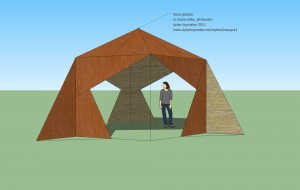 a design mockup of a hexayurt based gazebo